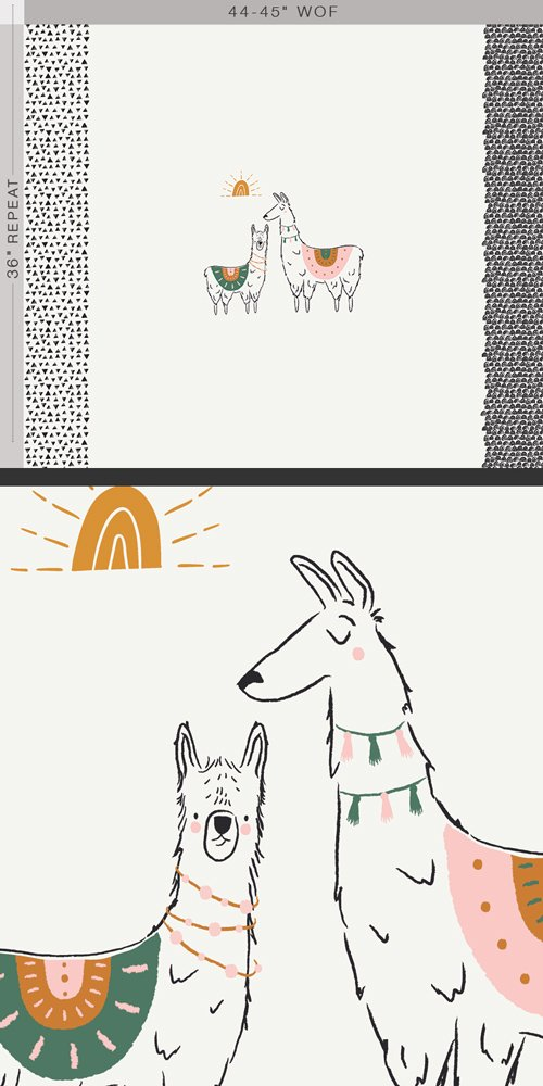 Pacha - I Love You a Llama 36 Panel  - by Art Gallery Fabrics