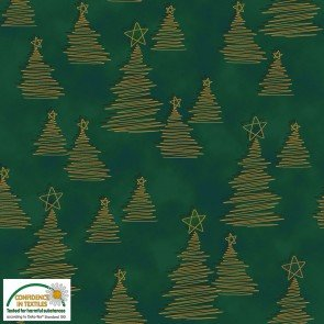 Christmas Wonders -  Green and Gold Christmas Trees - by Stof Fabrics
