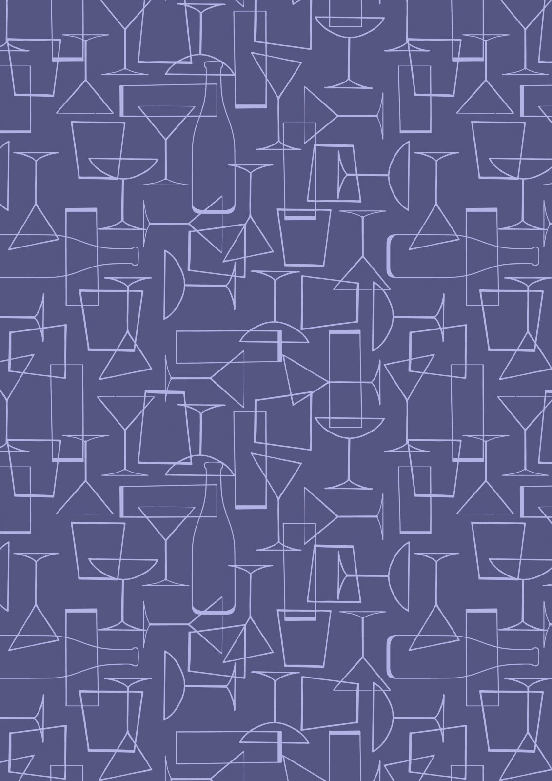 Cocktail Party - Cocktail Glasses on Dark Violet - by Lewis and Irene