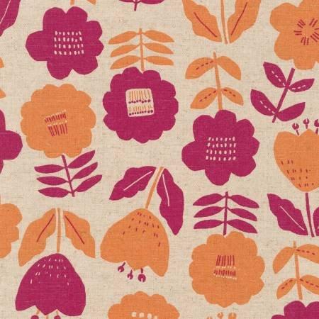 Cotton Flax Prints - Summer, Fuscia and Orange Flowers on Tan