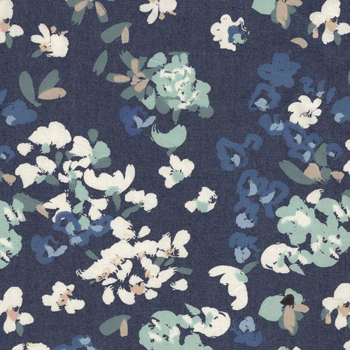 Painterly Wash Printed Denim Floral - by The Denim Studio by Art Gallery Fabrics