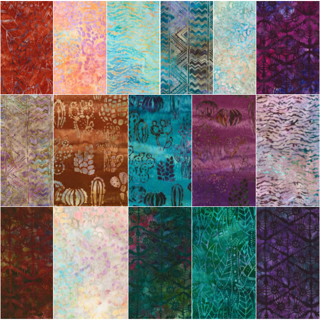 Desertscapes Batiks Fat Quarter Bundle by Lunn Studios for Robert Kaufman - Includes 20 Fat Quarters