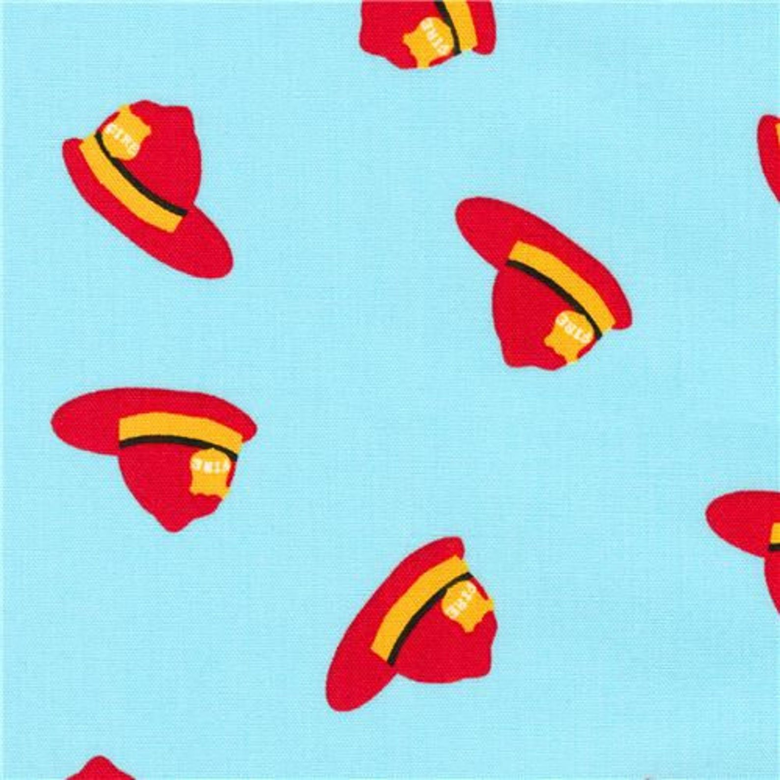 Fire Pups - Fireman's Helmet / Hat on Red - by Robert Kaufman Fabrics