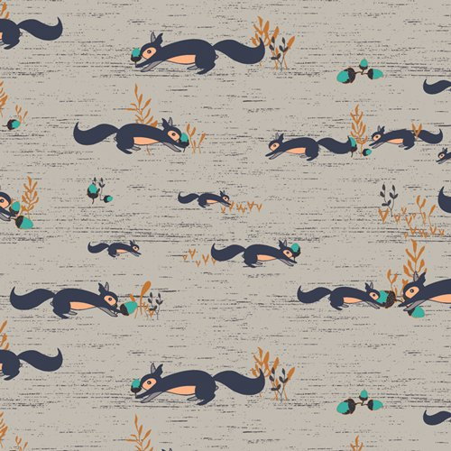 Fusion Little Forester - Squirrels At Play - By Maureen Cracknell For Art Gallery Fabrics