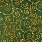 Robert Kaufman Winter's Grandeur - SRKM-18380-7 Gold Swirls on Green
