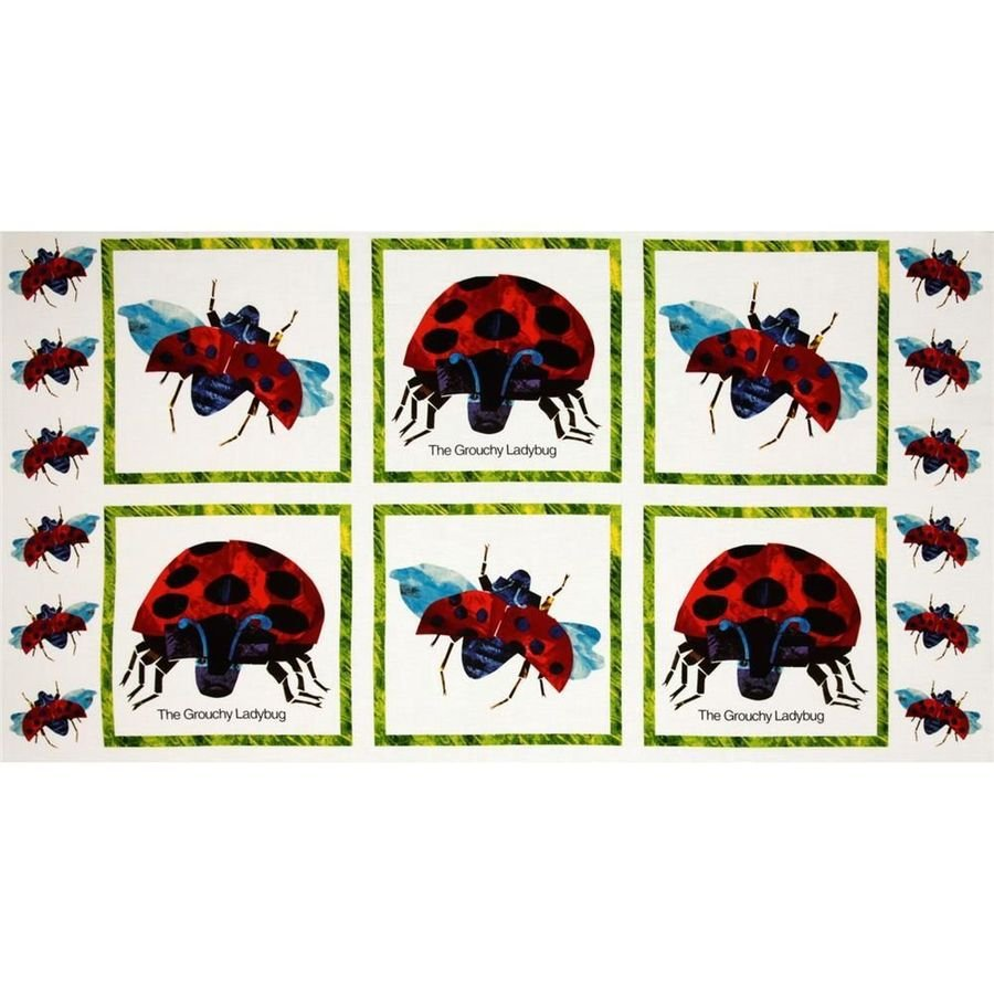 The Grouchy Lady Bug Panel - The Very Hungry Caterpillar Classics - by Eric Carle for Andover Fabrics - Sold by the 24 Panel