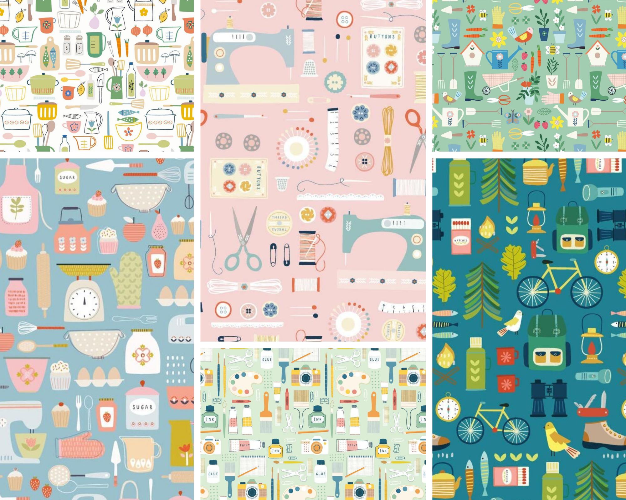 Hobbies - Fat Quarter Bundle 6pc/bundle - By Sally Payne For Dashwood Studios