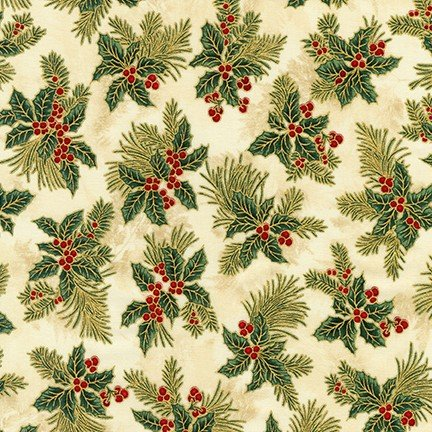 Holiday Flourish - Holly Leaves on Cream with Gold Metallic APTM-18345-223 - By Peggy Toole for Robert Kaufman Fabrics