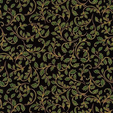 Winter's Grandeur - Holly on Black with Gold Metallic - by Robert Kaufman Fabrics