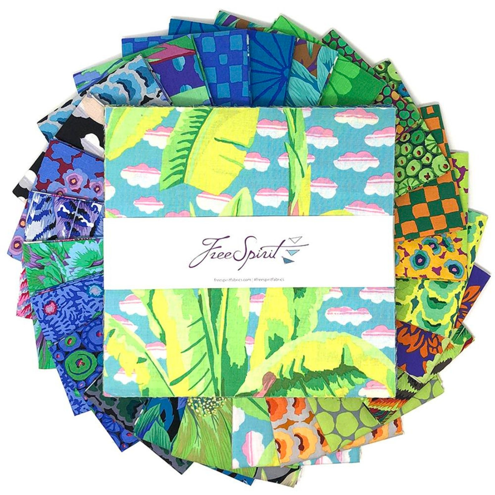 February 2021 - Cool Layer Cake 42pc/bundle - By Kaffe Fassett Collective For Free Spirit Fabrics