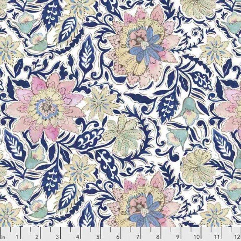 Ganesha Garden - Fat Quarter Bundle, Blue Colorway - by Dena Designs for Free Spirit