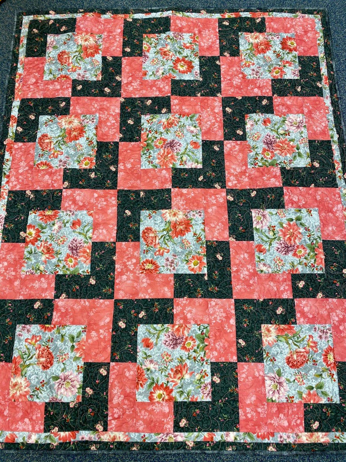 Ready Made Floral Throw Quilt - Handmade using Robert Kaufman Fabrics by Cotton Candy Fabrics