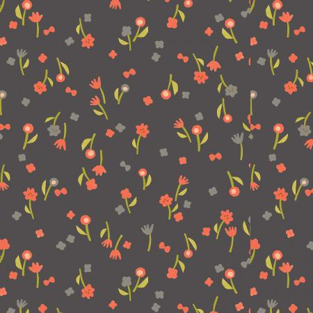 Neko And Tori - Charcoal Flower Picking - By Itsuko Naka For Cotton + Steel Fabrics