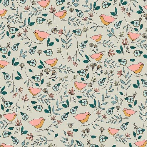 Lovebirds Celeste in Knit - by Art Gallery Fabrics