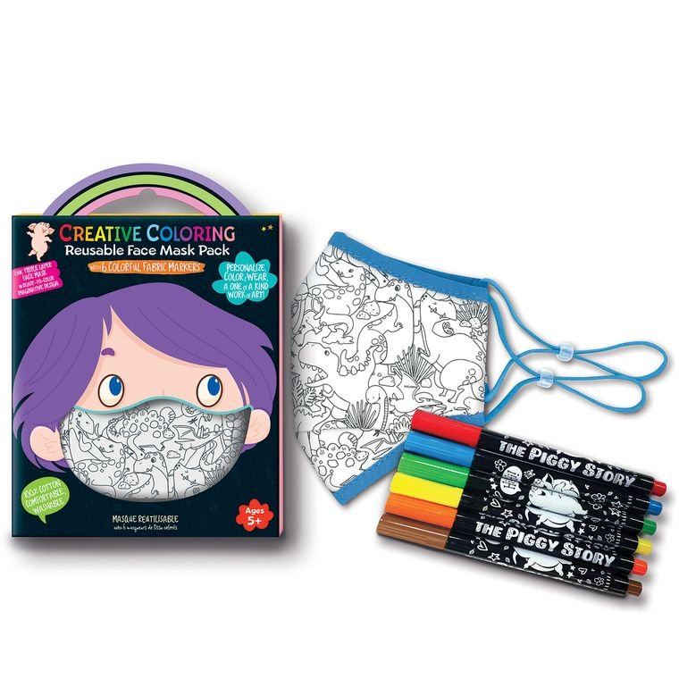 Creative Coloring Face Mask Pack - Dinosaur Land - by The Piggy Store