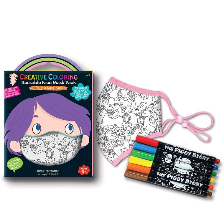 Creative Coloring Face Mask Pack - Unicorn Fantasy - by The Piggy Store
