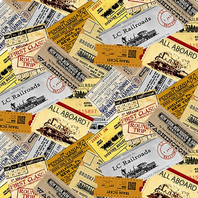 Blank Quilting Locomotion - Train Tickets Text