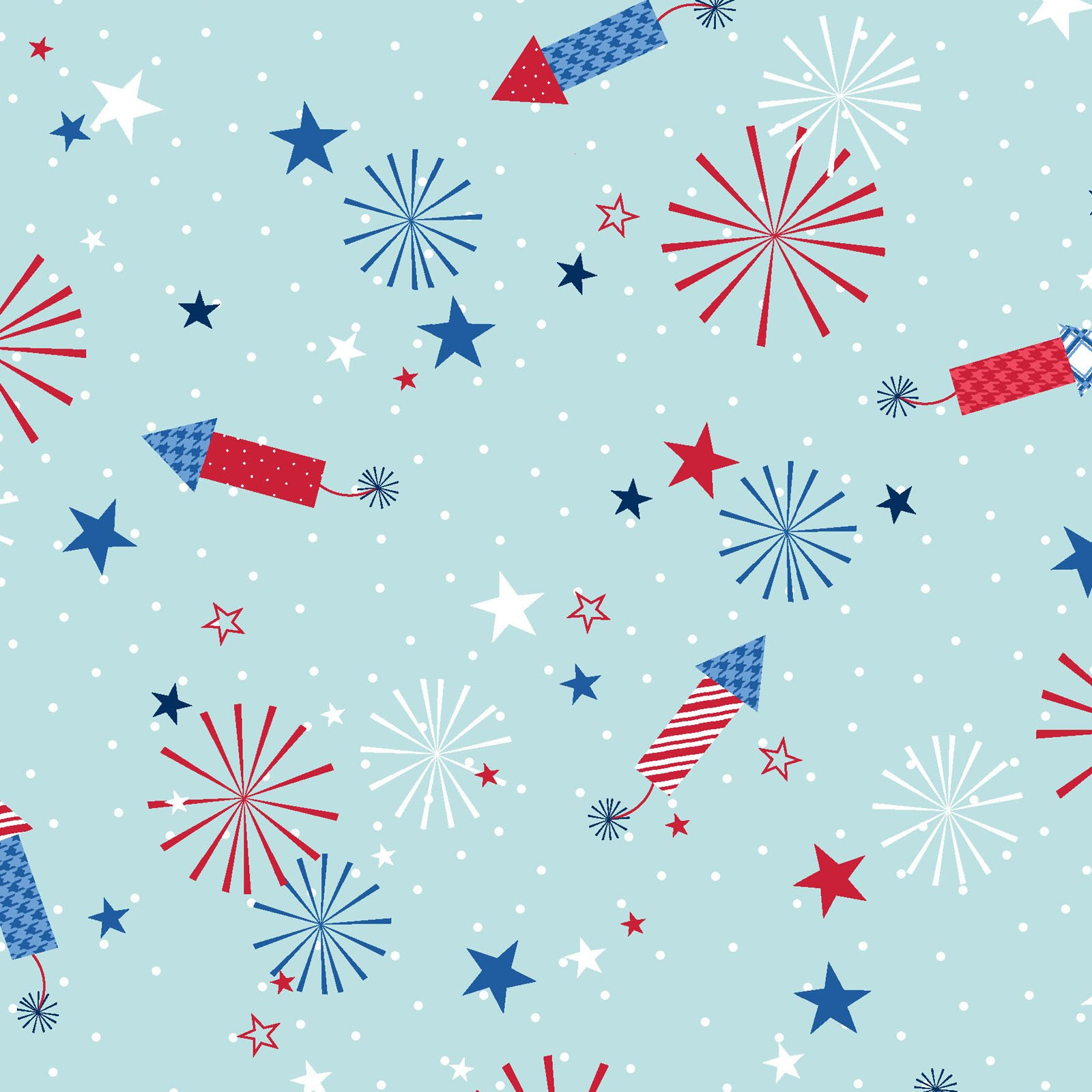 Red, White, And Bloom - Aqua Fireworks - By KimberBell For Maywood Studio