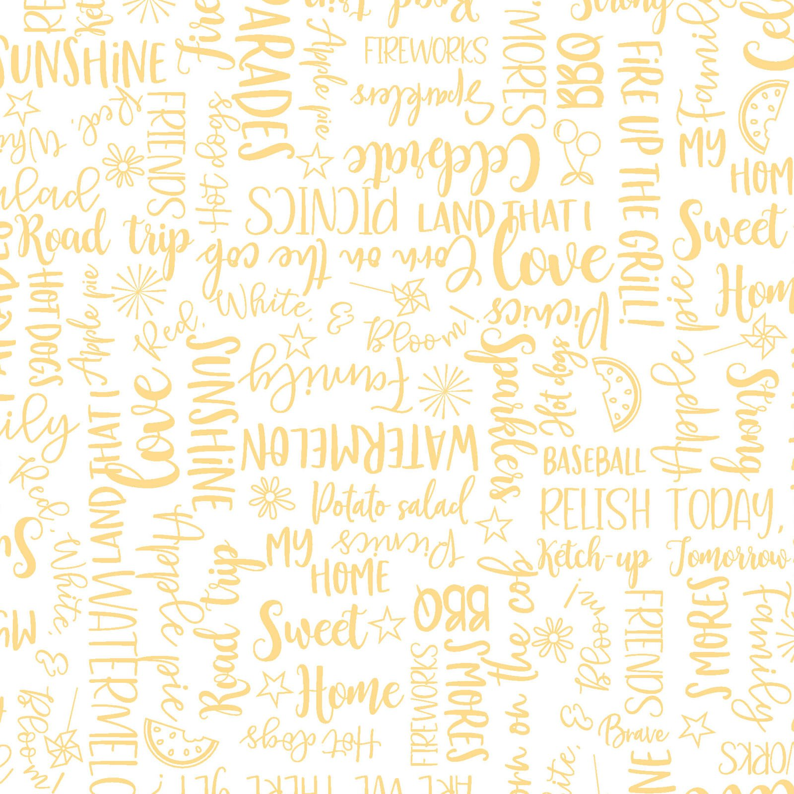Red, White, And Bloom - Yellow Wordy - By KimberBell For Maywood Studio
