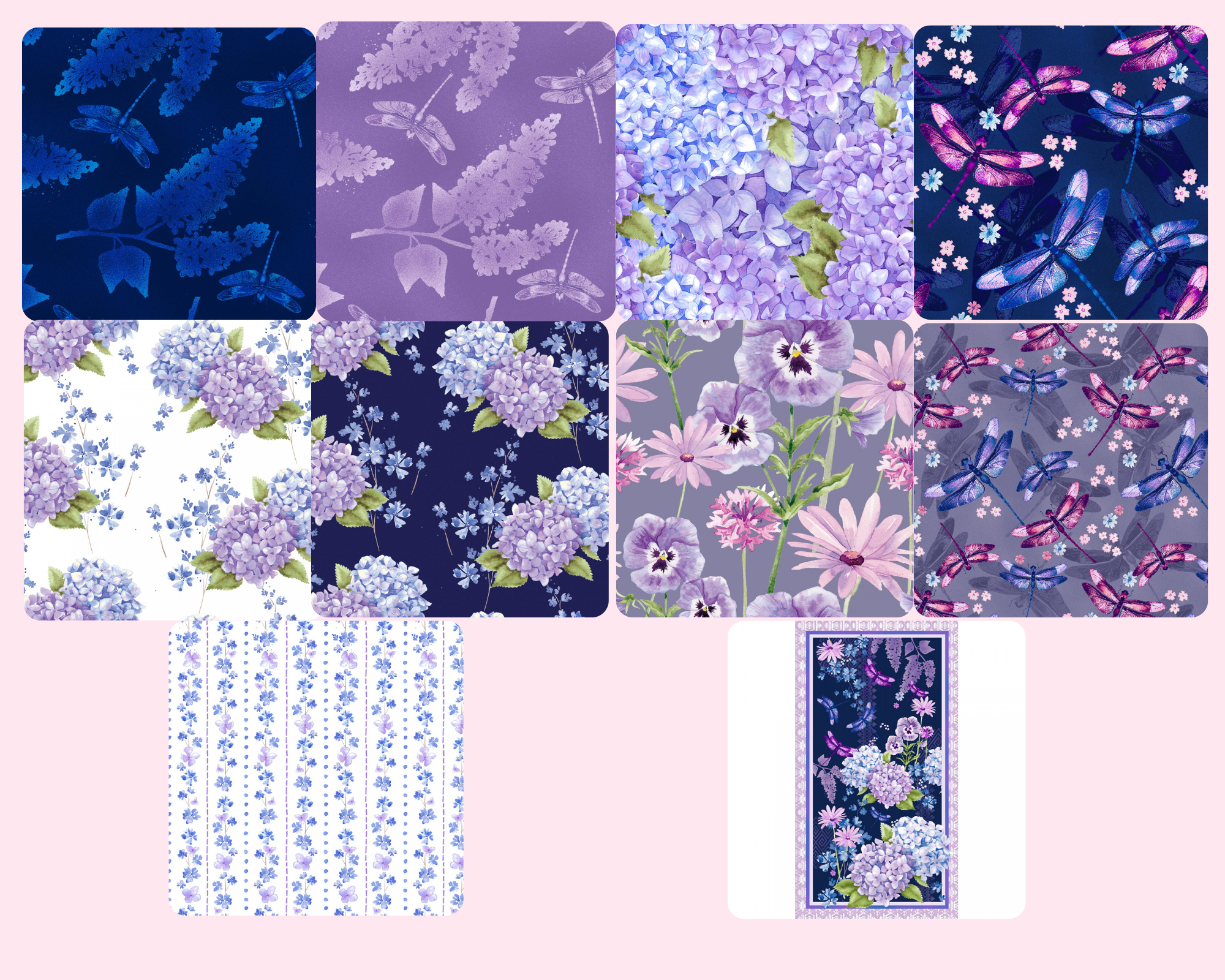 Midnight Hydrangea - Fat Quarter Bundle 10pc/bundle  - By Laura Stone For Studio E Fabrics