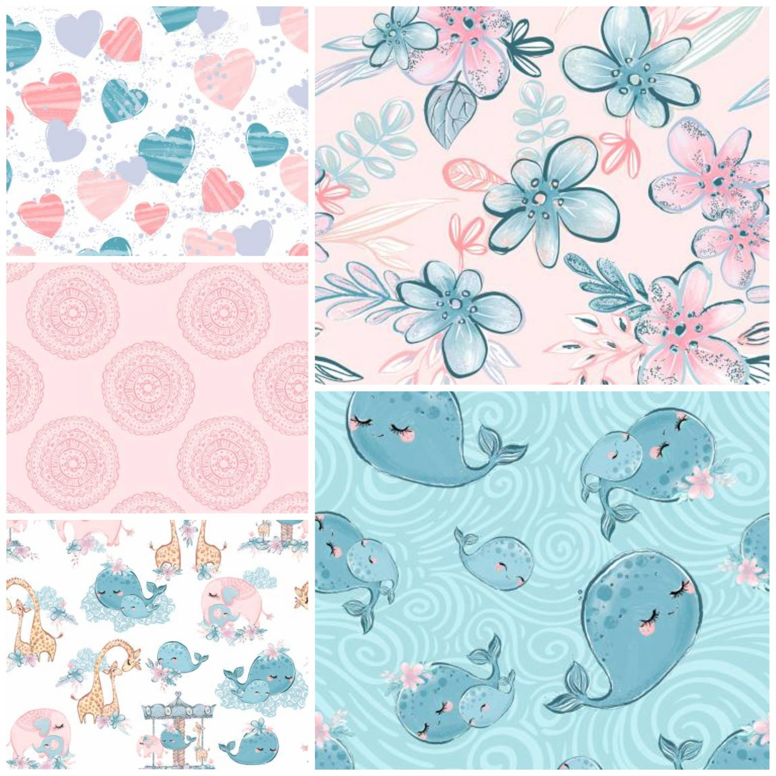 Mommy & Me - Girls Fat Quarter Bundle (5 FQ) - by Three Wishes Fabric