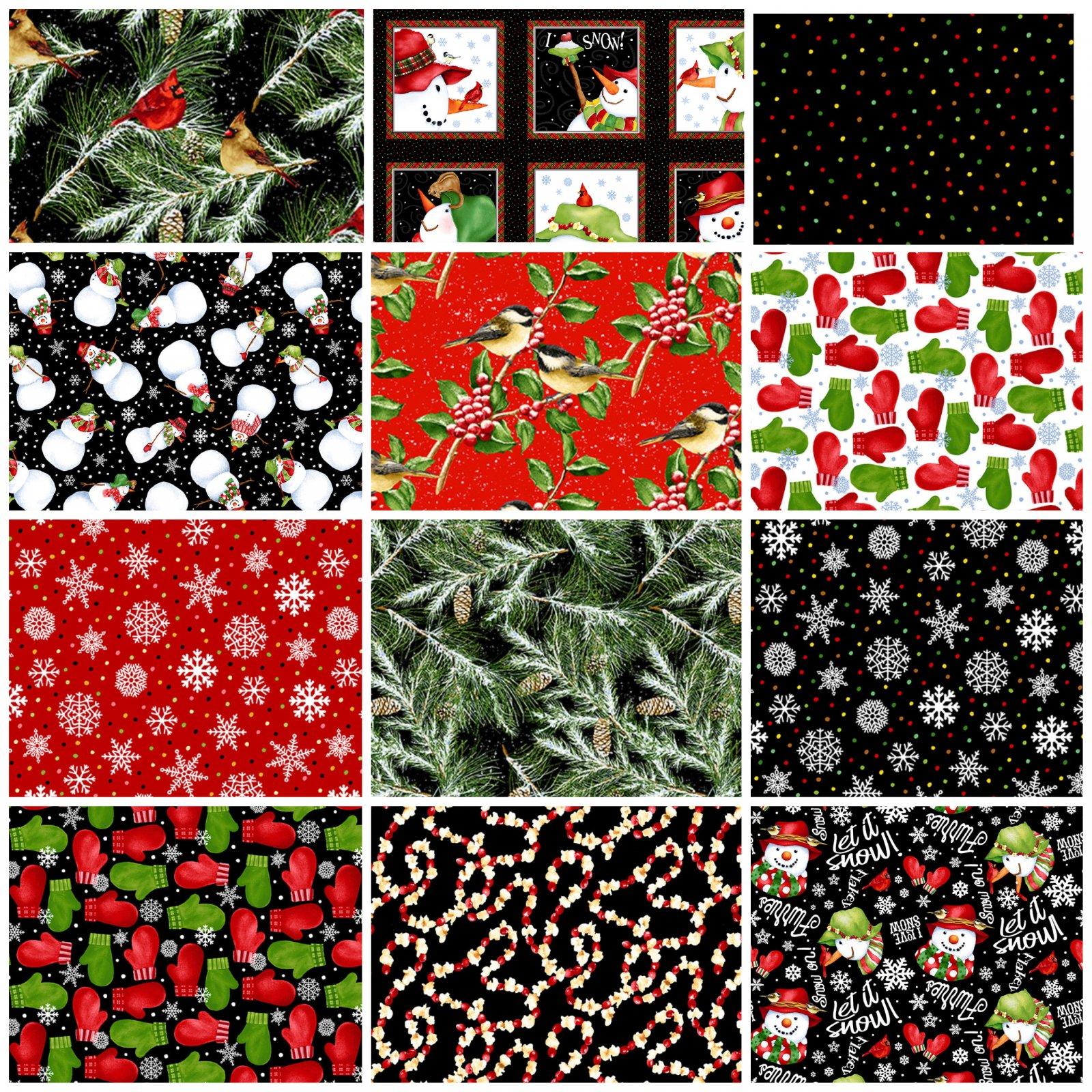 Snowbird 2-Ply Flannel - Fat Quarter Bundle -  by Barb Tourtillotte for Henry Glass Fabrics