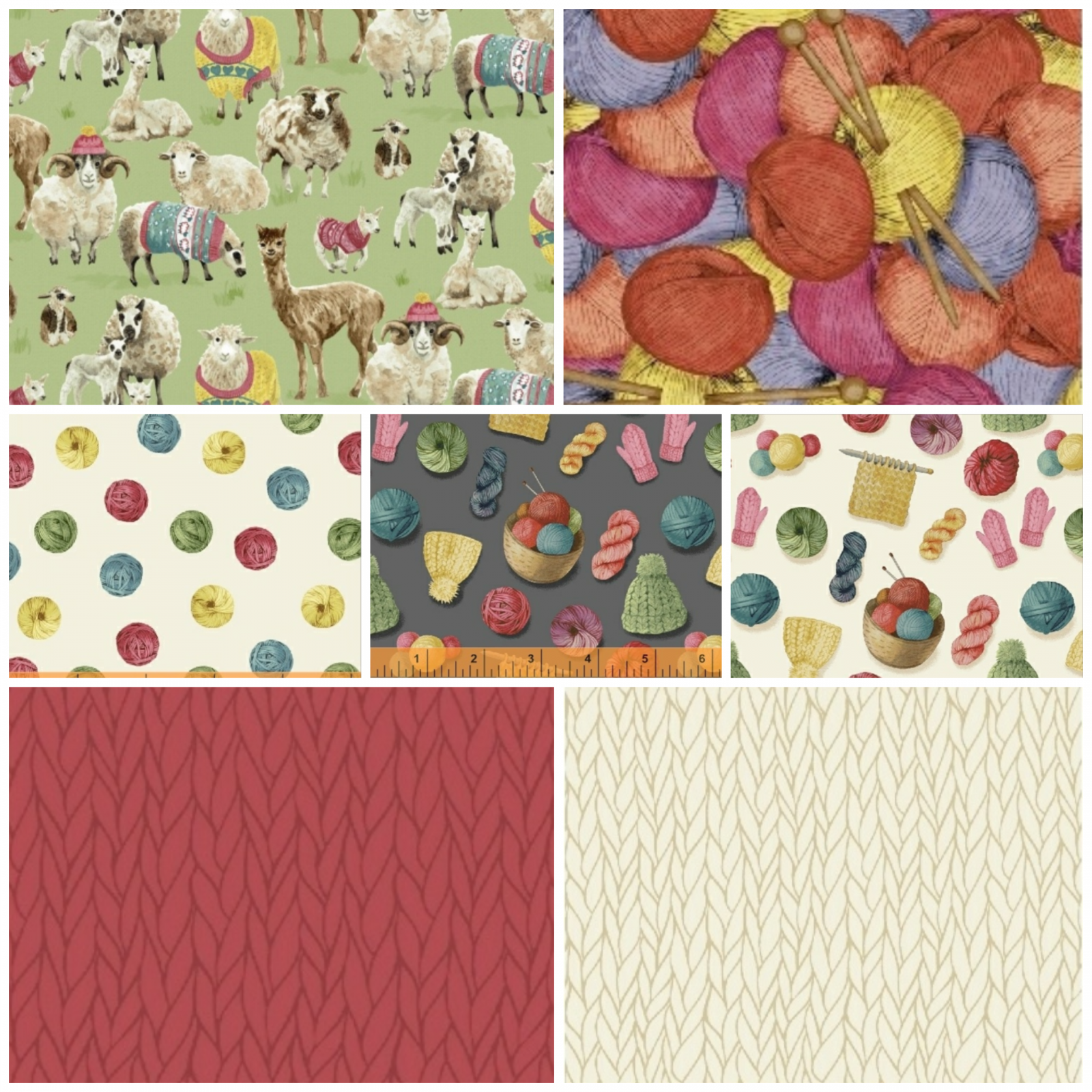 Knit N Purl Curated Fat Quarter Bundle - Includes 7 Fat Quarters - by Whistler Studios for Windham Fabrics