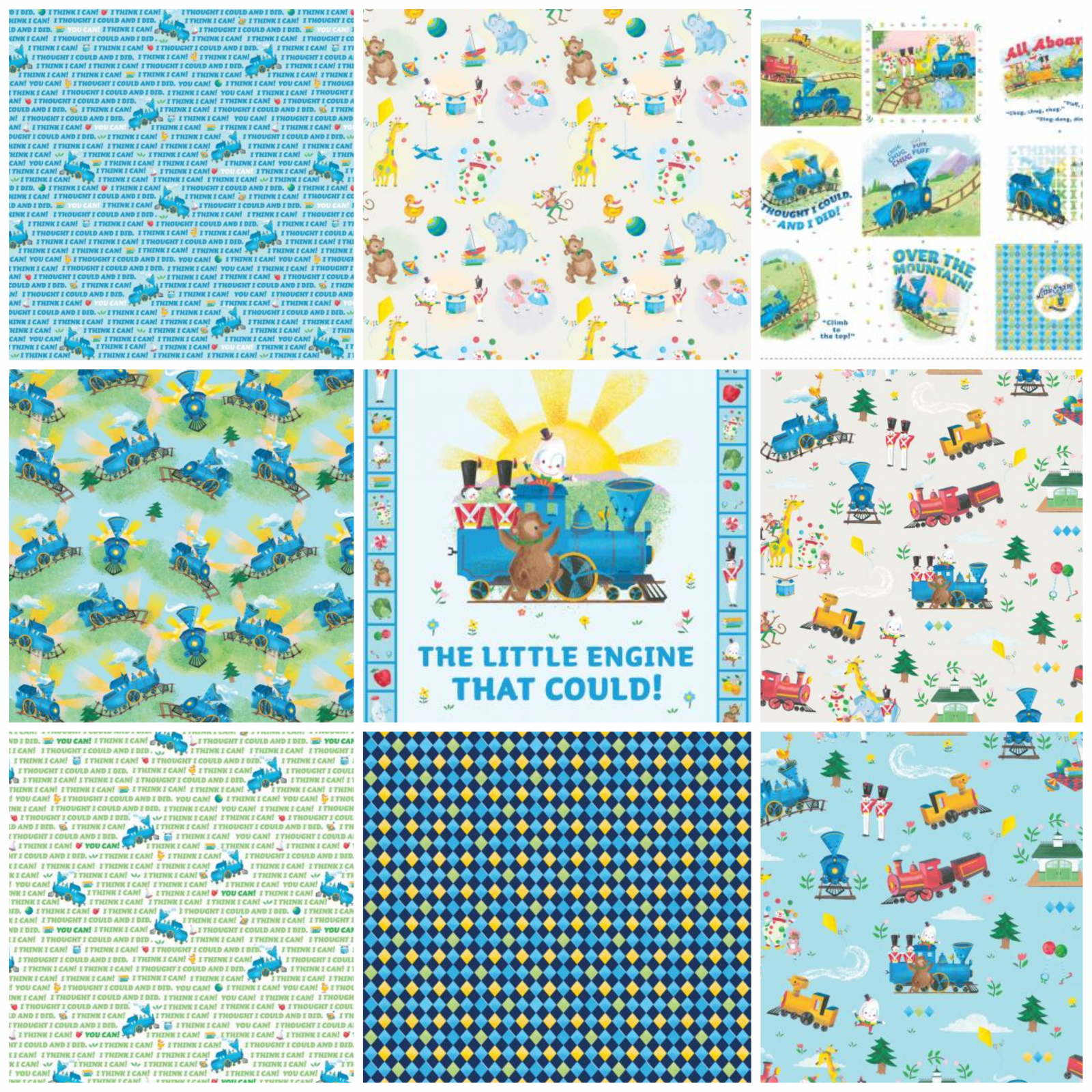 Little Engine That Could - Fat Quarter Bundle with 7 FQ and 2 Panels - Licensed by Riley Blake Designs
