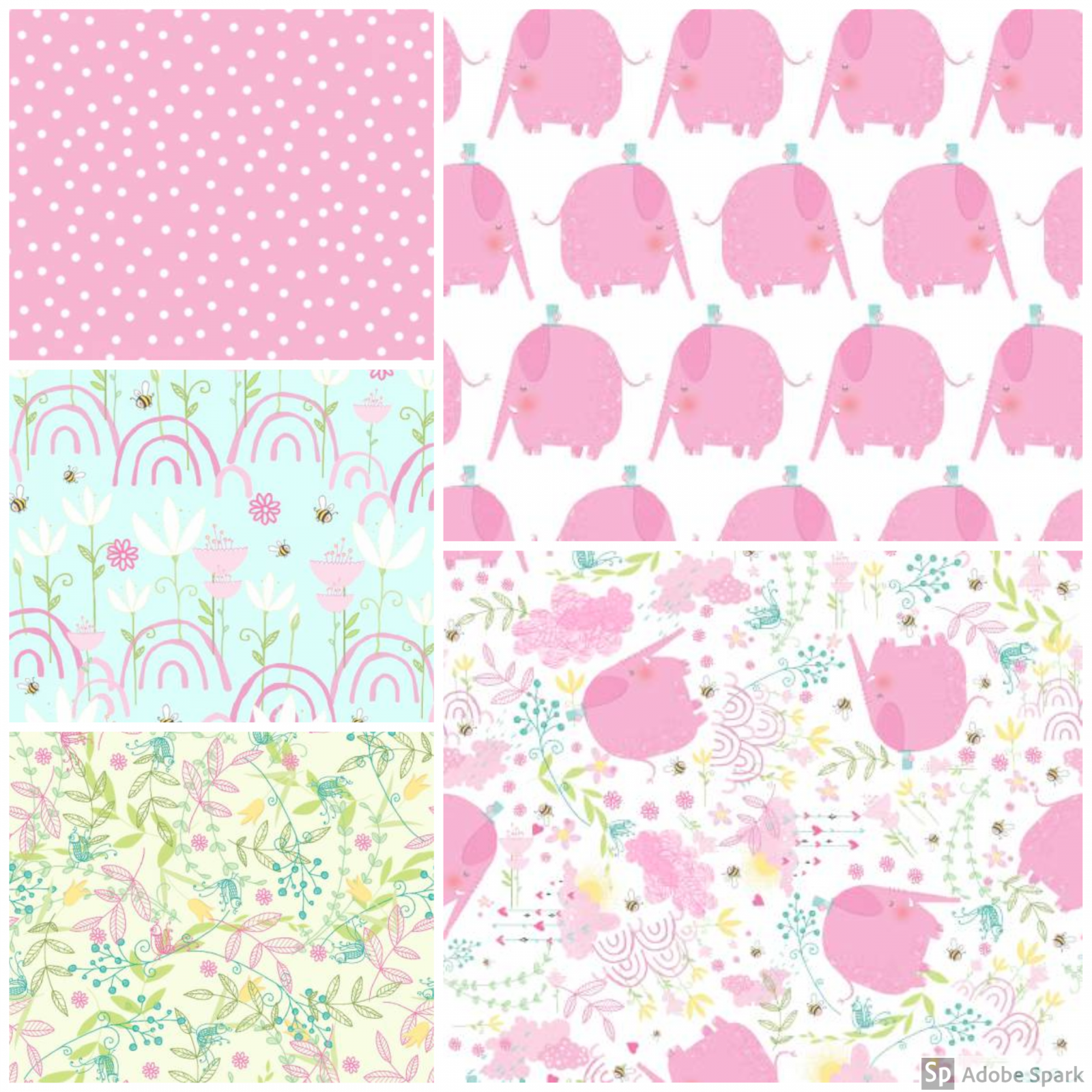 Itty Bittys - Baby Girl Fat Quarter Bundle - by 3 Wishes Fabric - Includes 5 Fat Quarters