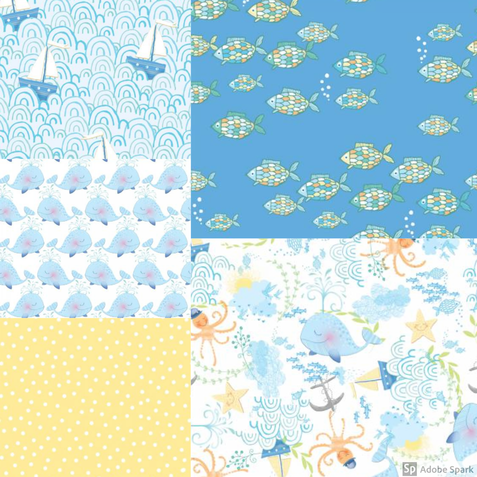 Itty Bittys - Baby Boy Fat Quarter Bundle - by 3 Wishes Fabric - Includes 5 Fat Quarters