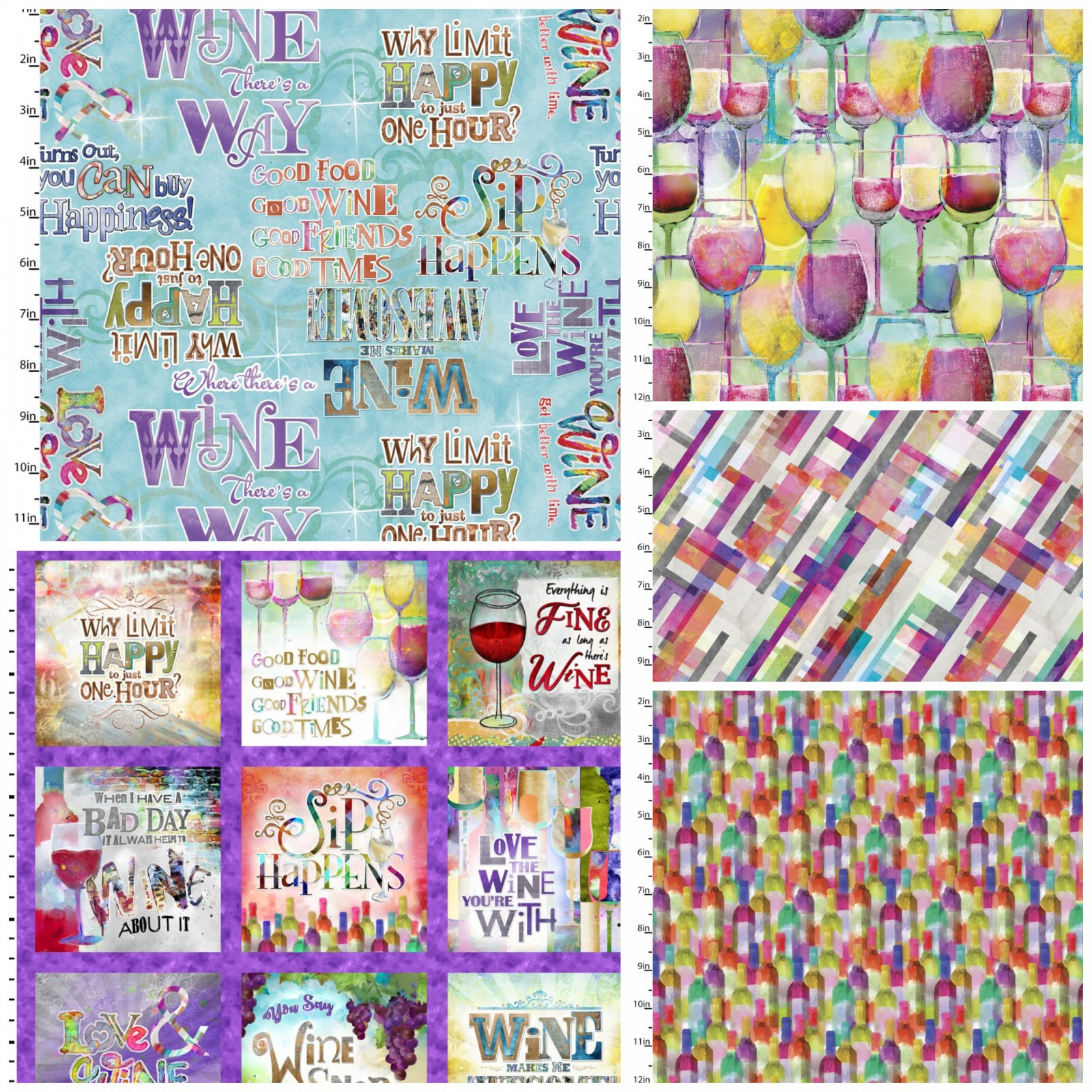 Sip and Snip Curated Fat Quarter Bundle - by Connie Haley for 3 Wishes Fabrics - Includes 4 Fat Quarters and 1 Panel
