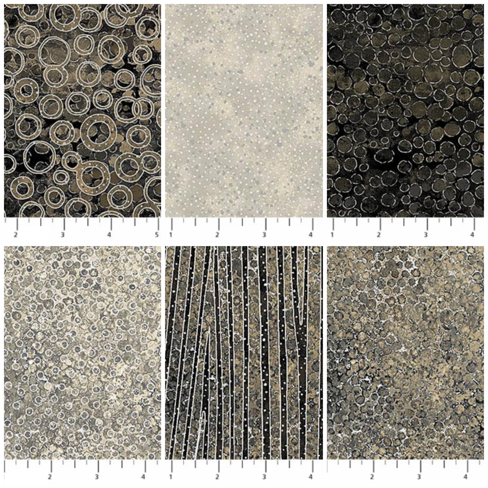New Shimmer, Black Earth Fat Quarter Bundle, by Deborah Edwards for Northcott - Includes 6 Fat Quarters