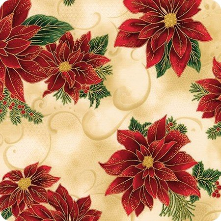 Holiday Flourish - Poinsettia on Cream with Gold Metallic APTM-18336-223 - By Robert Kaufman Fabrics