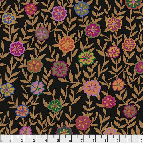Kaffe February 2020 - Busy Lizzie, Black - by Kaffe Fassett Collective for Free Spirit