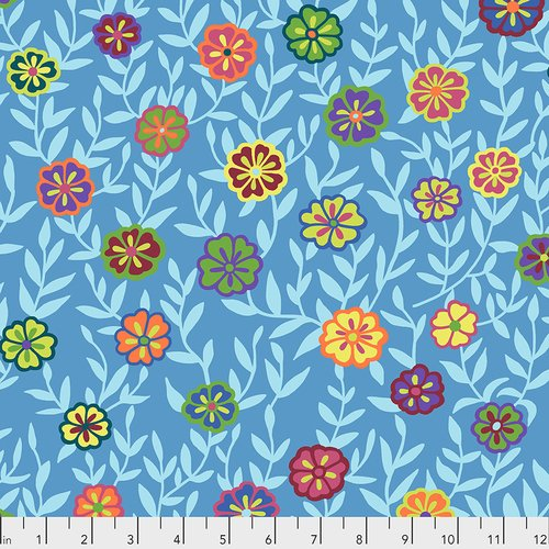 Kaffe February 2020 - Busy Lizzie, Blue - by Kaffe Fassett Collective for Free Spirit
