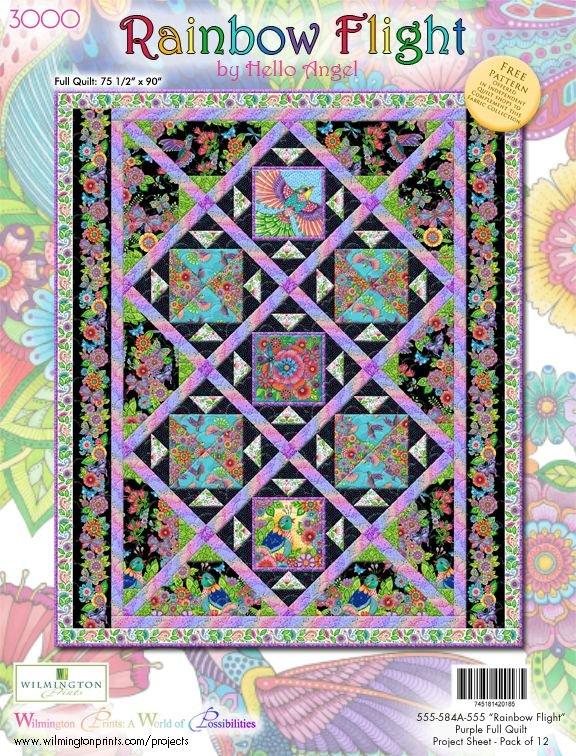 Rainbow Flight by Wilmington Prints, Full Size Quilt Kit, Purple