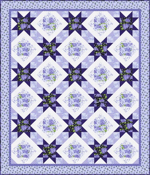 FlowerHouse: Elizabeth - Rosy Stars Quilt Kit - By Debbie Beaves For Robert Kaufman Fabrics