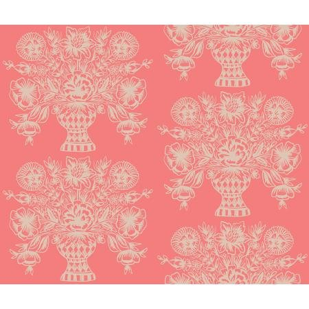 Meadow - Vase Block Print, Coral - by Rifle Paper Co for Cotton + Steel
