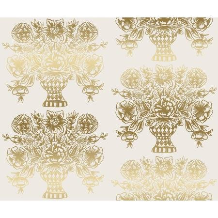 Meadow - Vase Block Print, Cream Metallic - by Rifle Paper Co for Cotton + Steel
