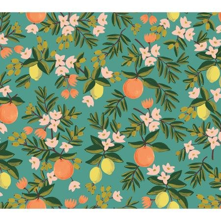 Primavera - Citrus Floral, Teal - by Rifle Paper Co for Cotton + Steel