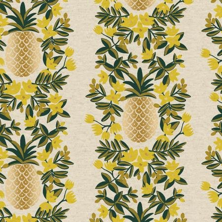 Primavera - Cream Pineapple Stripe *Metallic Canvas*  - by Rifle Paper Co for Cotton + Steel