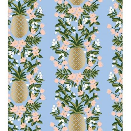 Primavera - Pineapple Stripe, Periwinkle Metallic - by Rifle Paper Co for Cotton + Steel