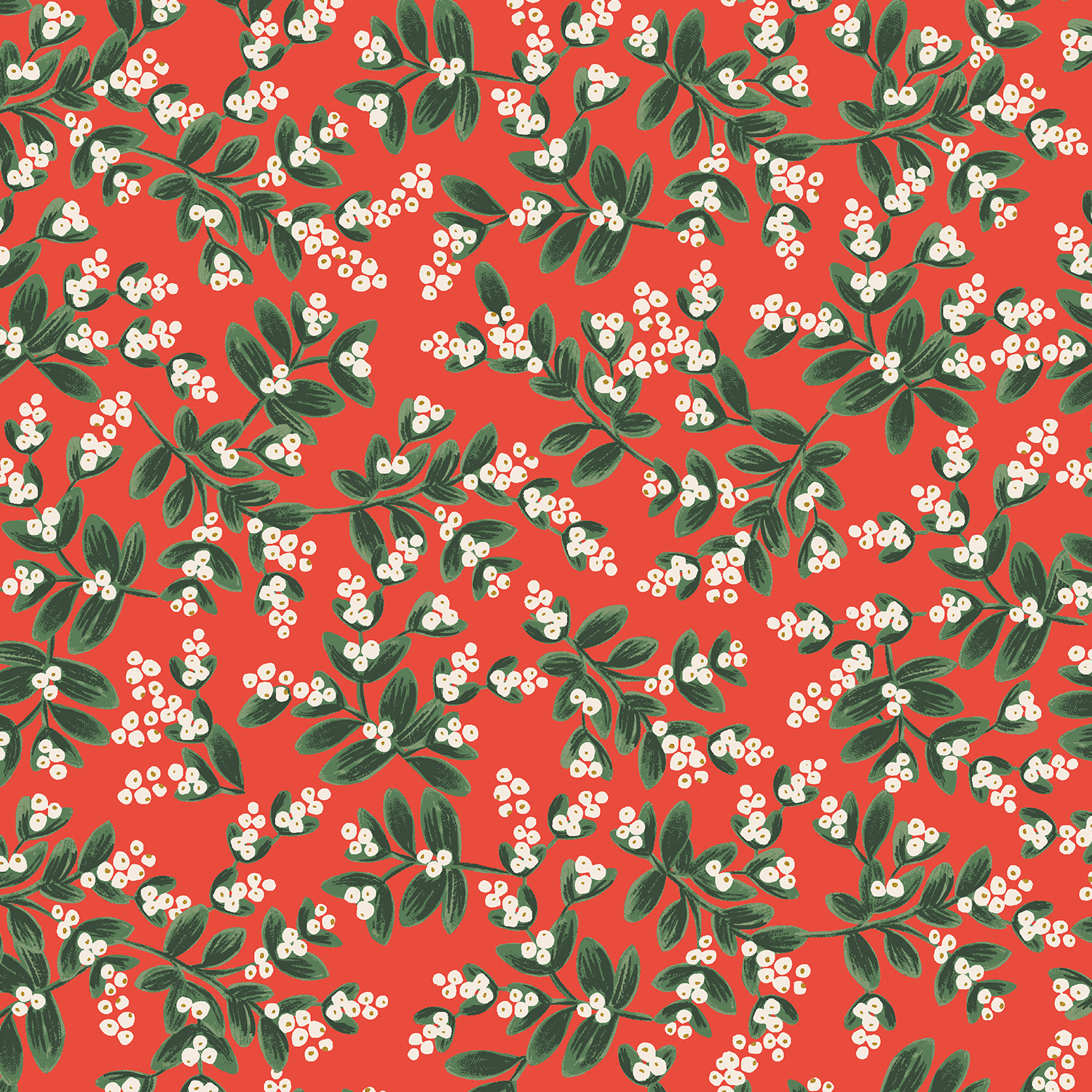 Holiday Classics - Red Mistletoe - By Rifle Paper Co. For Cotton And Steel