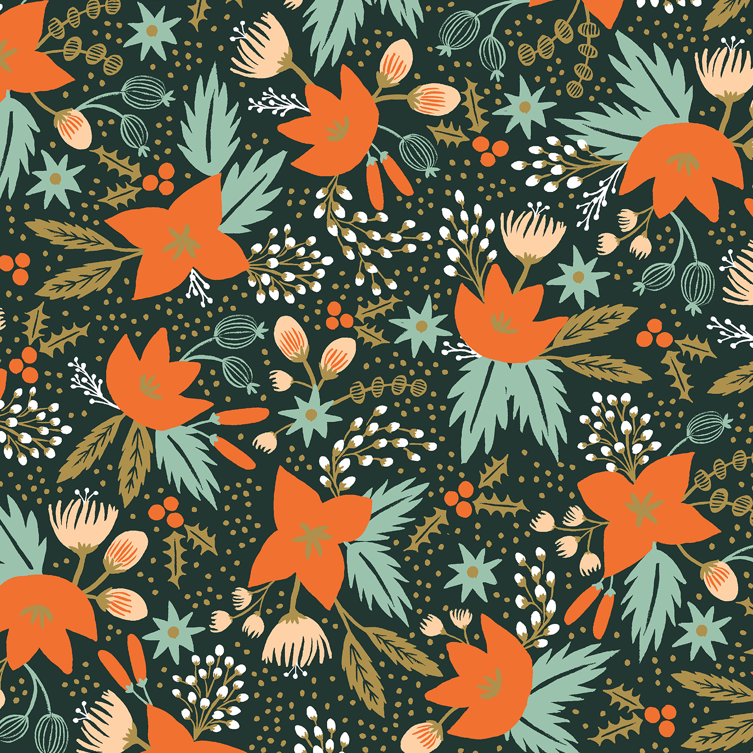 Holiday Classics - Evergreen Poinsettia*Rayon* - By Rifle Paper Co. For Cotton And Steel