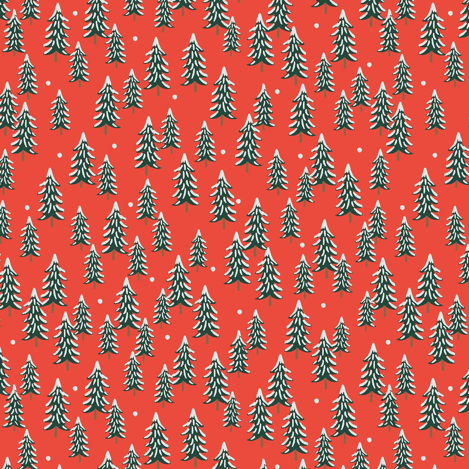 Holiday Classics - Red Fir Trees - By Rifle Paper Co. For Cotton And Steel