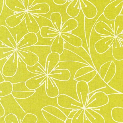 Sevenberry Canvas 59 - Lime Floral - by Robert Kaufman