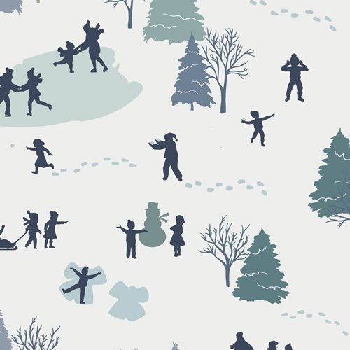 Snow Day - Building A Snowman - By Mister Domestic For Art Gallery Fabrics