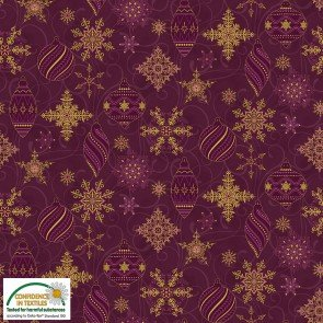 Sparkle - Gold on Purple Ornaments - by Stof Fabrics