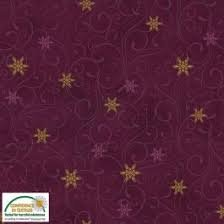Sparkle - Gold on Purple Snowflakes - by Stof Fabrics