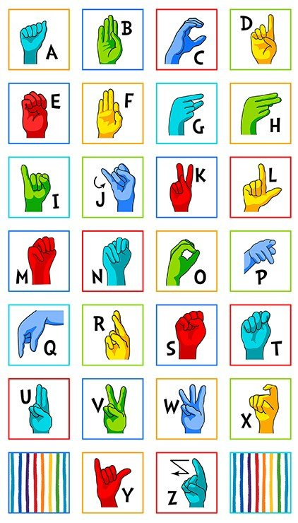Sign Language Alphabet 24 Panel- By Robert Kaufman Fabrics